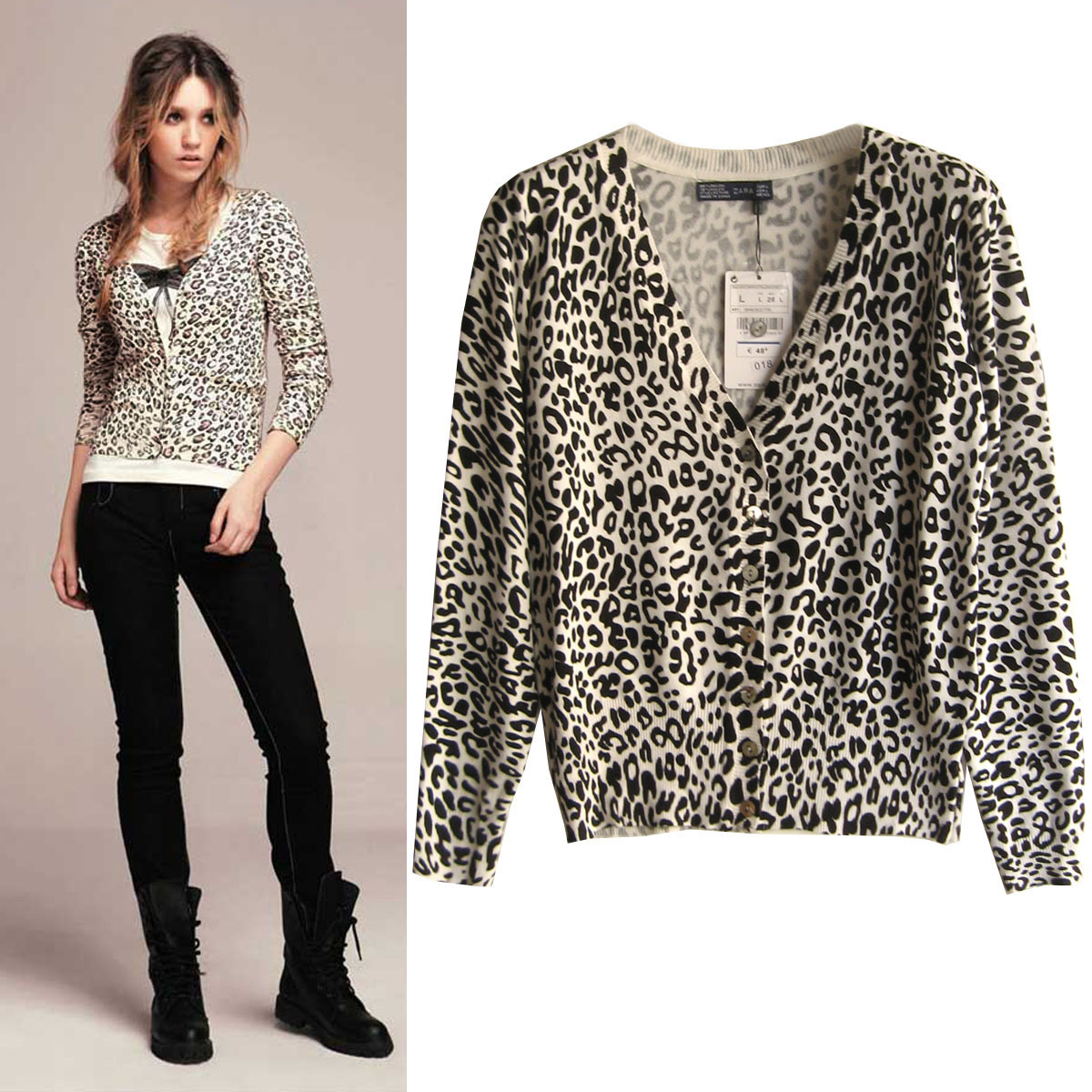 2014 spring sexy leopard print pattern long sleeve sweater ...