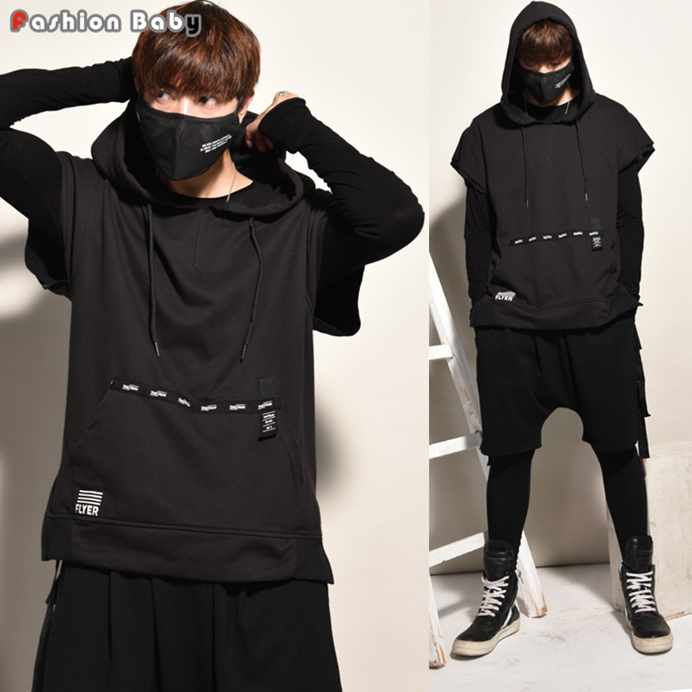 mens letter design autumn sleeveless hoodies unique kangaroo pocket fashion loose casual hooded sweatshirts 2017 new in hoodies sweatshirts from mens - Hoodie Design Ideas