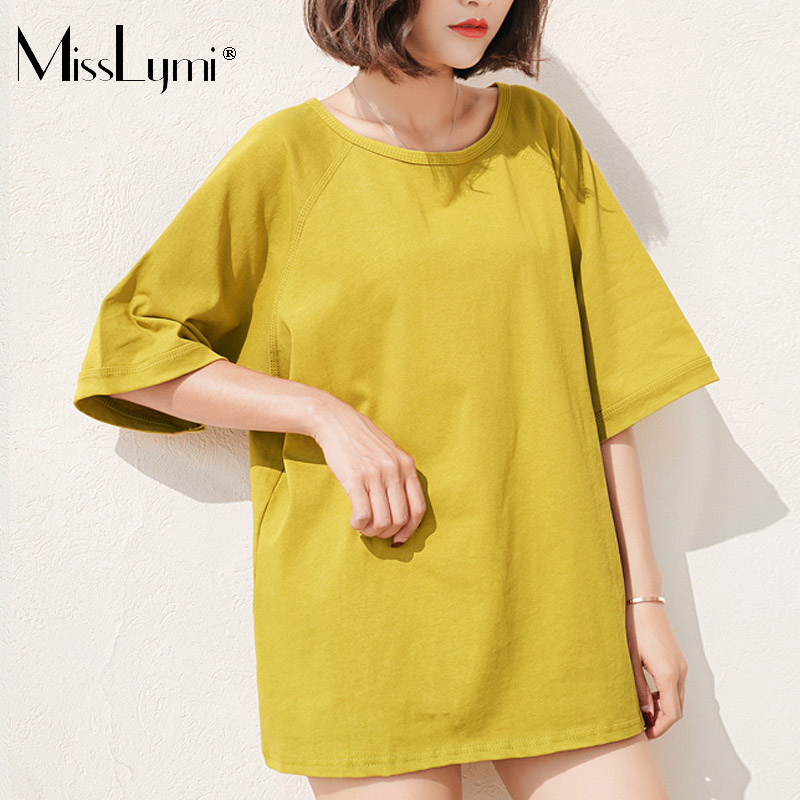 MissLymi XXXL 4XL Plus Size Women Oversized Tops 2018 Summer Korea Fashion  Solid color O neck Short Sleeve Loose Casual T shirt-in T-Shirts from  Women s ... 09b4ae3eb7c1