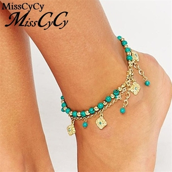MissCyCy 2016 Lucky Kabbalah Fatima Hamsa Hand Blue Flowers Foot Jewelry Double Beads Turkish Ankle Bracelet For Women Anklet
