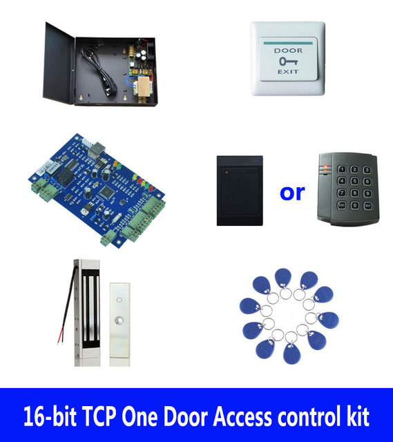 RFID access control kit,TCP one door access control+powercase+180kg magnetic lock +ID reader+exit button+10 ID tags,sn:kit-B03