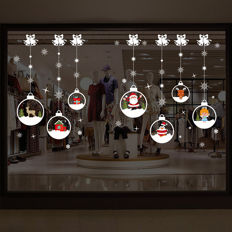 New Year Christmas decoration wall stickers window <font><b>glass</b></font> stickers Christmas hanging <font><b>snowball</b></font> pendant window <font><b>glass</b></font> wall stickers image