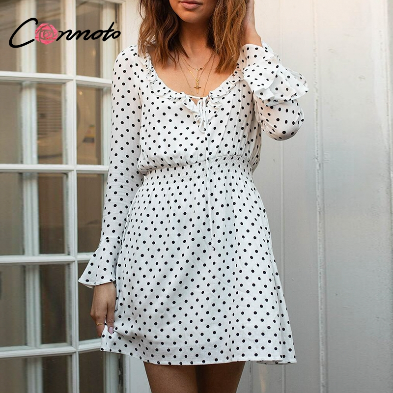 Conmoto Ruffle V Neck Sexy Dress Polka Dot Vintage Long Sleeve Loose Dress OL Short Dress 2019 Spring Streetwear Mini Dress Платье