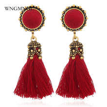 WNGMNGL 2018 New Fashion Female Earrings Bohemia Tassel Earrings Vintage Red Black Fringe Dangle Drop Earrings For Women Jewelry bohemia round fringe dangle earrings