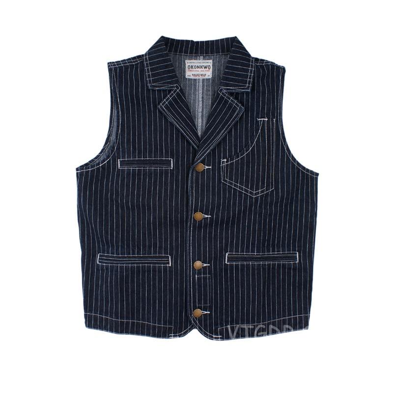 Vintage Men's Denim Foreman Vest Motorcycle Striped Lapel Jean Jacket Waistcoat For Rider Biker