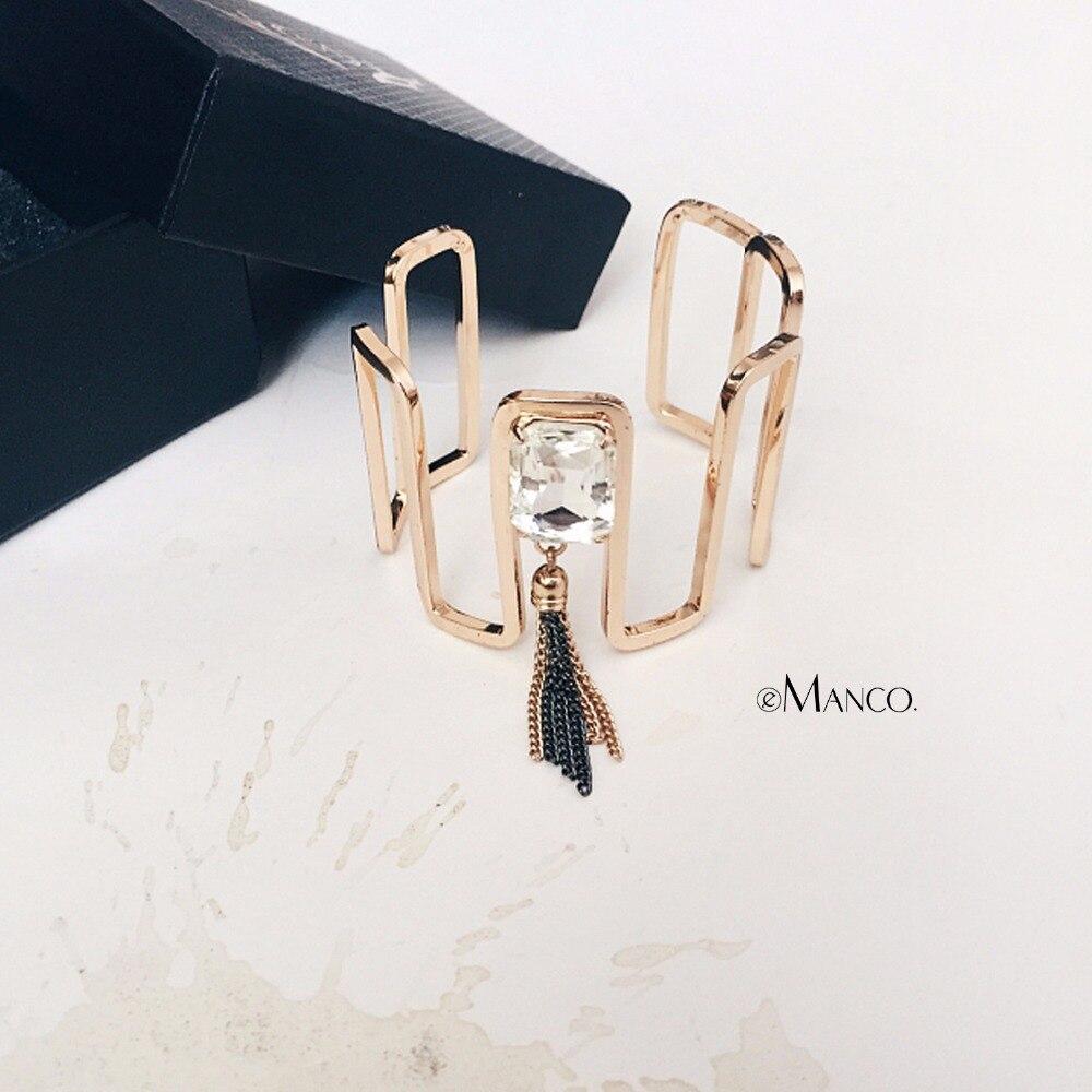 eManco Golden Color Simple Bangles For Women Copper Chain Tassel Glass Crystal Chain Bracelet Charms Accessories Wholesales elegant golden multilayer tassel shoulder chain body chain for women