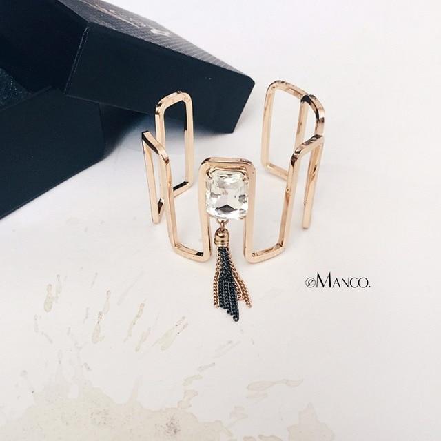 eManco Golden Color Simple Bangles For Women Copper Chain Tassel Glass Crystal C