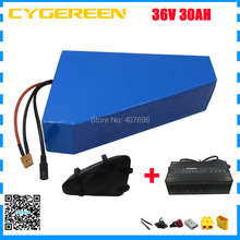 1500W 36V triangle battery 36V 30AH electric bike battery with free bag use 29E 2900mah cell 50A BMS 3A charger