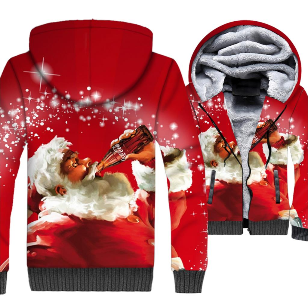 Merry Christmas Hoodies Men Santa Claus 3D Jackets Cat Dog Sweatshirt 2018 Brand Winter Thick Fleece Warm Zipper Hipster Coat