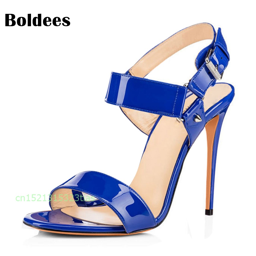 Concise Patent Leather Blue Nude Red High Heels Sandals Women Ankle Strap Summer Dress Shoes Woman Open Toe Sandals loslandifen new ankle strap women sandals casual patent leather red high heels shoes open toe lady summer sandal mujer sandalias