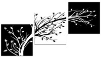 Simple Modern Home Decor Wall Art Handpainted Abstract Trees Oil Painting 3 Panel Pictures on Canvas White Black Tree Paintings
