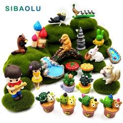 Micro Landscape Grass Lovers Rabbit squirrel duck figurine home decor miniature fairy garden decoration accessories Resin modern