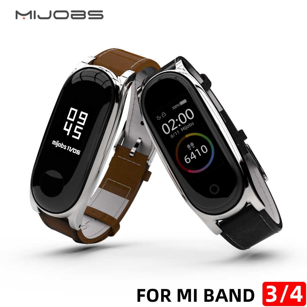 นาฬิกาสำหรับ Xiao Mi Mi Band 4 หนังสายรัดข้อมือหนังใช้งานร่วมกับสำหรับ Mi Band 4 อุปกรณ์เสริมสร้อยข้อมือ mi band 3 สาย