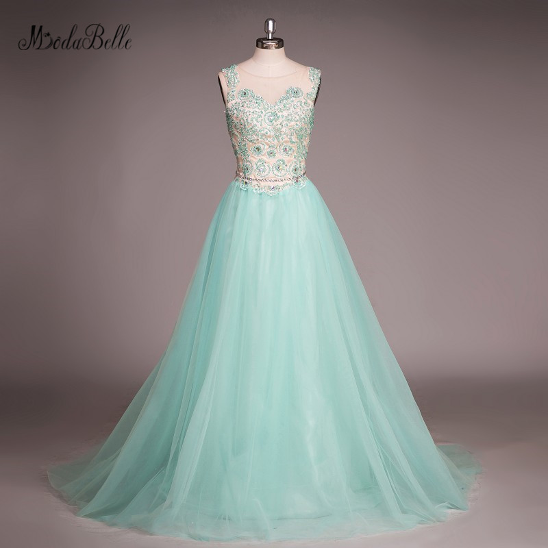 modabelle 2017 Beads Prom Dress Turquoise Blue Long Tulle Vestido De ...