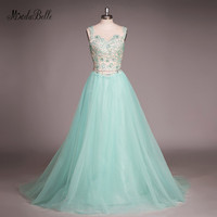 modabelle 2017 Beads Prom Dress Turquoise Blue Long Tulle Vestido De Formatura Longo Party Dresses Evening Gowns Real Photos