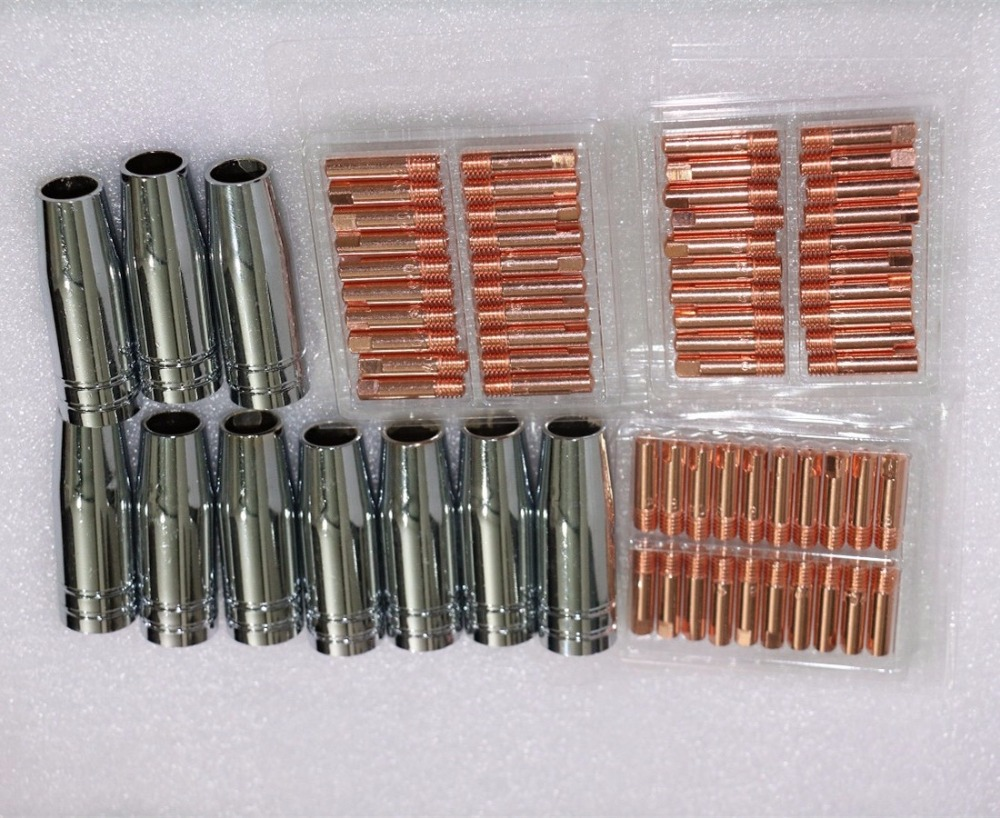 70PCS CO2 Mig Mag welding torch aircooled MB 15AK swan neck contact tip holder gas nozzle M6 25MM 0 8 1 0