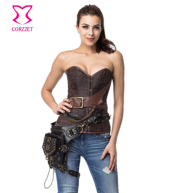 9056637b3 Brown Gothic Military Bustier Top Halloween Corset Plus Size Steampunk Clothing  Corsets and Bustiers Sexy Espartilhos E Corpetes