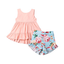 Kid Baby Girl Outfits Ruffle Floral T Shirt Tops an