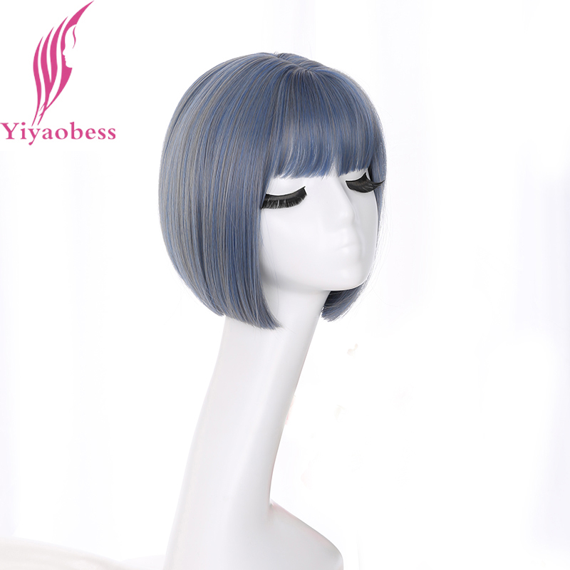 Yiyaobess Korea Style Straight Bob Wig With Bangs Synthetic Natural Hair Brown Black Linen Grey Blue Blonde Short Woman Wigs