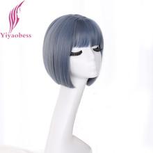 Yiyaobess Korea Style prosto Bob peruka z grzywką syntetyczne naturalne włosy brązowy czarna pościel szary niebieski blond krótkie peruki kobieta
