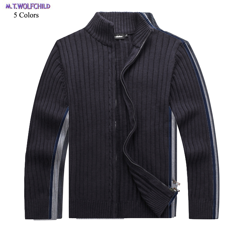 Good Quality 2018 Autumn Mens Long Sleeve Stand-collar Knitted Sweaters Casual Mens Thick Knitting Zipper Coats Mens Cotton Tops