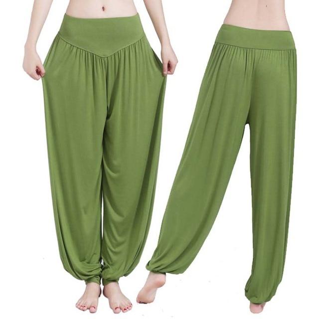 Women high waist Long Pants Harem Youga Modal Dancing Long Trouses Wide Loose Leg Belly Dance Comfy Boho Pants colors YF483 2