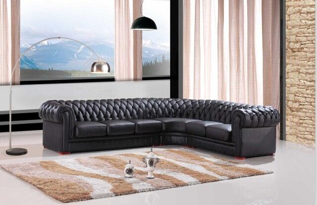Moderno Sofá Secional Sofá Chesterfield De Couro Cor Preta Para Sala De  Estar Mobiliário Sofá
