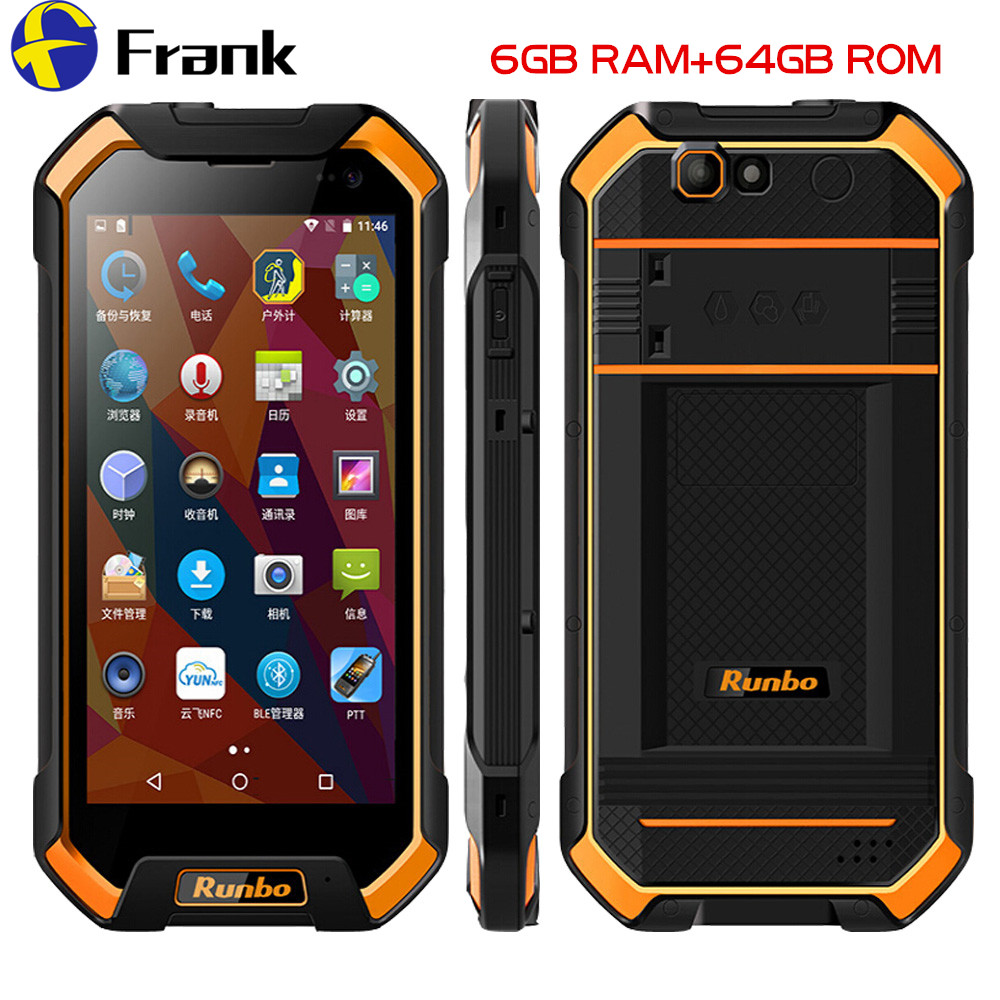 Original Runbo F1 Plus IP67 Waterproof Mobile Phone 6GB 64GB Android 7 0 Shockproof Cellphone