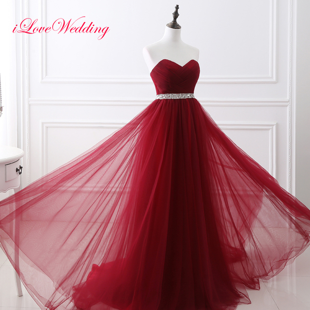Wine Red A Line Evening Dresses Sleeveless Sweetheart Tulle Pleat with Sequin  Sash Women Floor Length Long Formal Party Gowns e14485500bf8