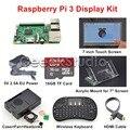 Display Original Raspberry Pi 3 16 GB Starter Kit com 7 polegada 1024*600 Tela de Toque + 5 V 2.5A UE/EUA/REINO UNIDO/AU de Fornecimento de Energia