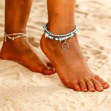 8ea9149b332fa جديد شعبية الطيور تصميم خلخال بوهو سلسلة حبة الصيف شاطئ القدم مجوهرات  الأزرق الأبيض نجم البحر براكليت خلخال دروبشيبينغ NS33