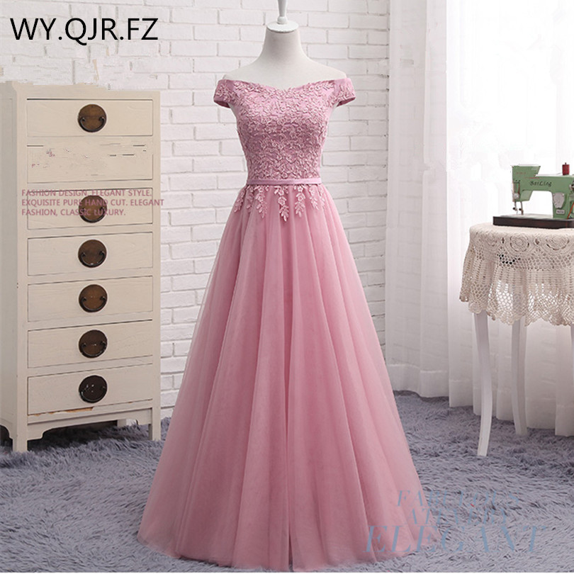 PTH2122A#Off Shoulder Embroidery Sky Blue Lace Up Wedding Dresses New Spring Summer 2019 Short Long Toast Bride Party Dress
