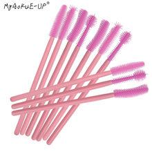 Brosse en Silicone jetable rose, 50 pièces, pour Extension de cils, pinceaux de maquillage pour femmes, baguettes de Mascara, outils applicateurs