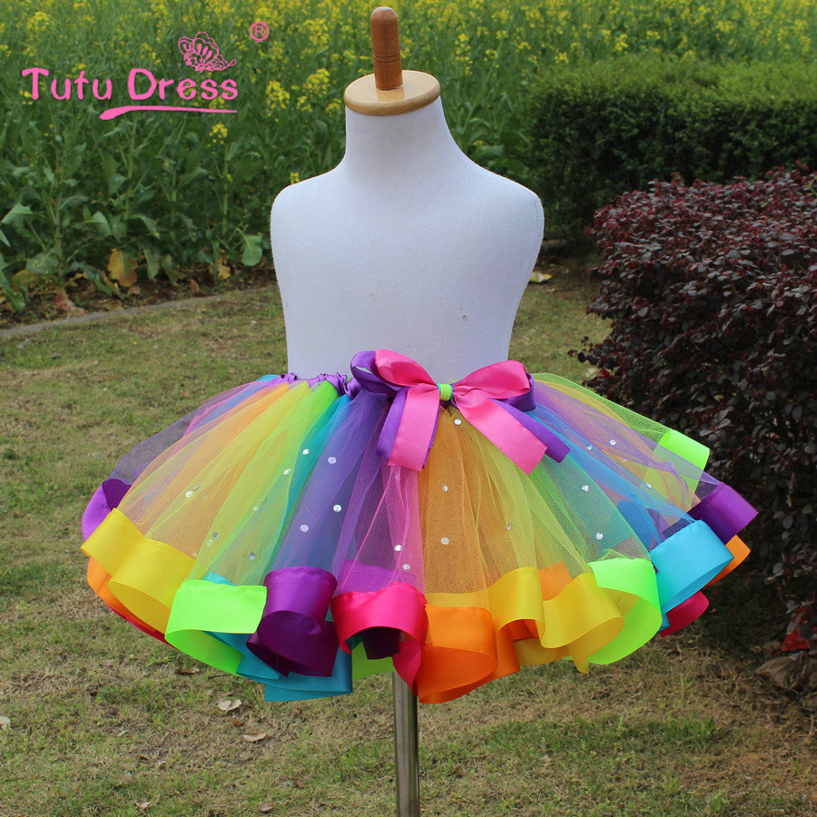 Baby Girl Kjol Kids Rainbow Tutu Kjolar Princess Mini Pettiskirt Barn Ball Gown Party Bröllop Dance Bow Mesh Dancewear