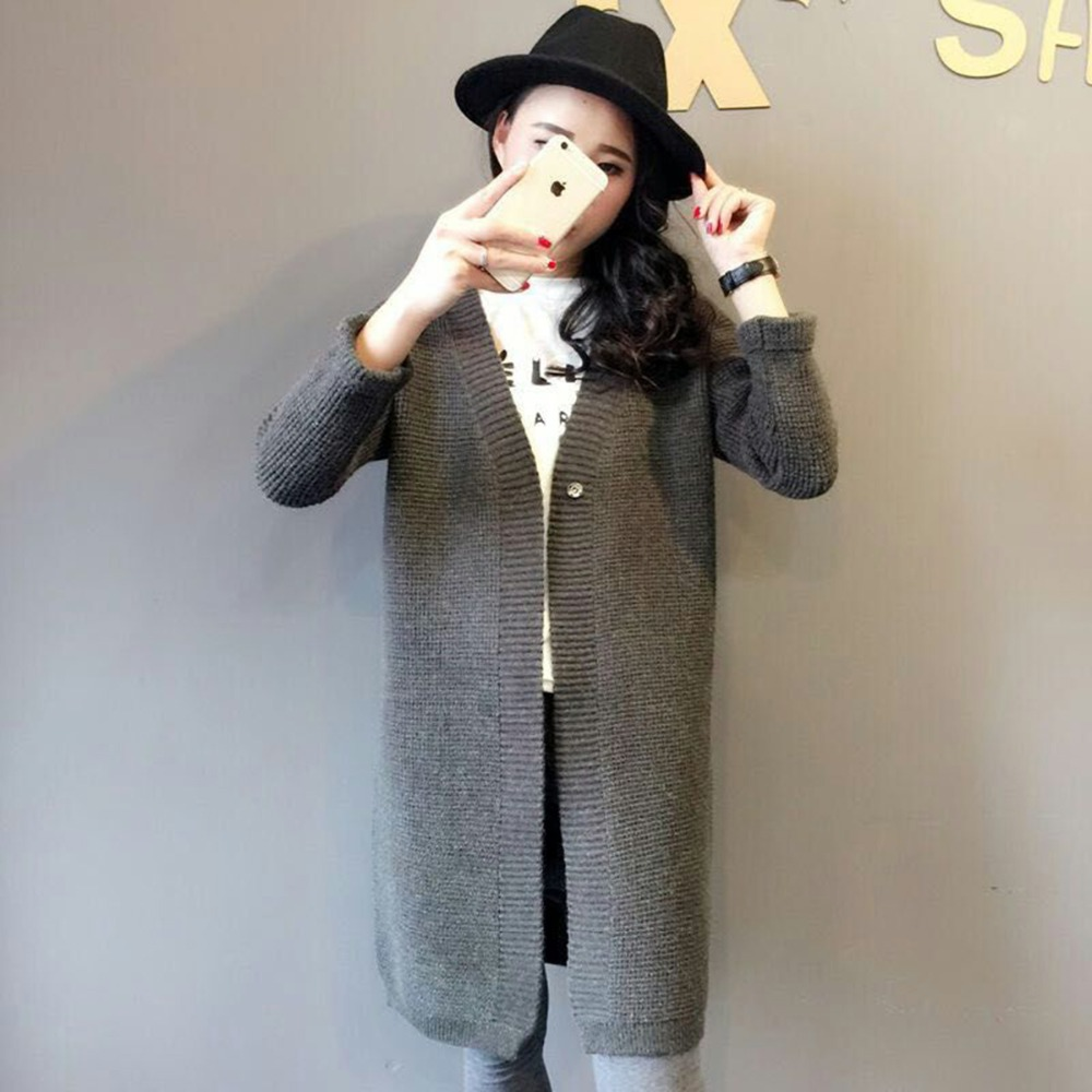Autumn Winter Cardigans Fashion Women New Kpop Long Section ...
