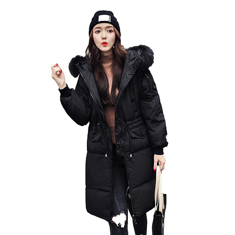 2018 Winter Plus Size   Down   Jacket Women Long Hooded Parka Fur collar Duck   Down     Coat   Padded High Quality Female Snow Outerwear