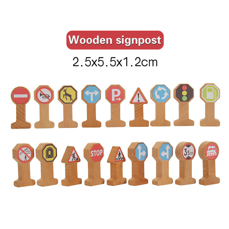 Wooden Track Accessories Signpost Traffic Signs Kids Cognitive Toy Wooden Track Combination Scene Compatible Wooden Track Kids