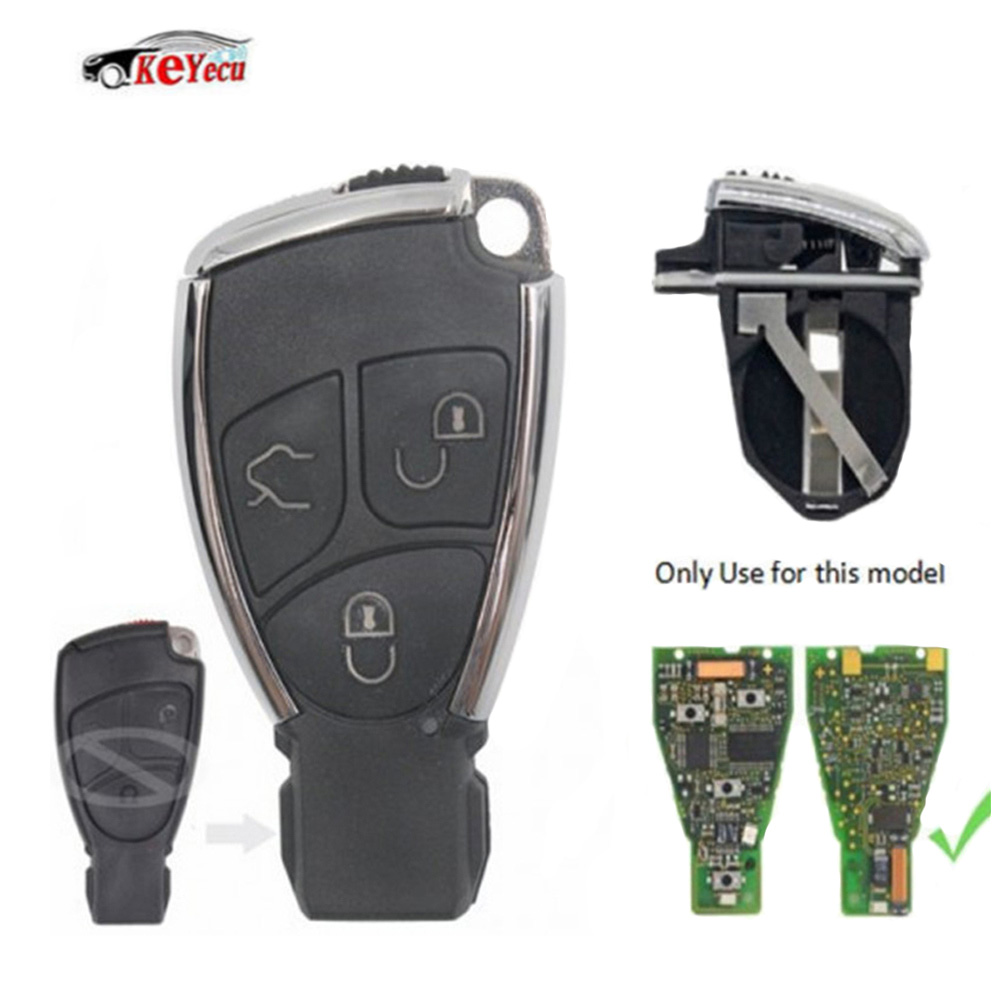 KEYECU 3 Button Black Modified Remote Car Key Shell Case Fob for Mercedes-Benz C E S B Class CLK CLS SLK 2001-2010