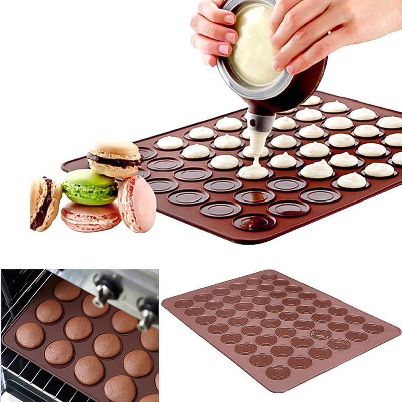 Moule de cuisson antiadhésif Silicone 48 cases   Macaron de cuisine, four à pâtisserie, tapis de feuille, outils de cuisine, bricolage ustensiles de cuisson