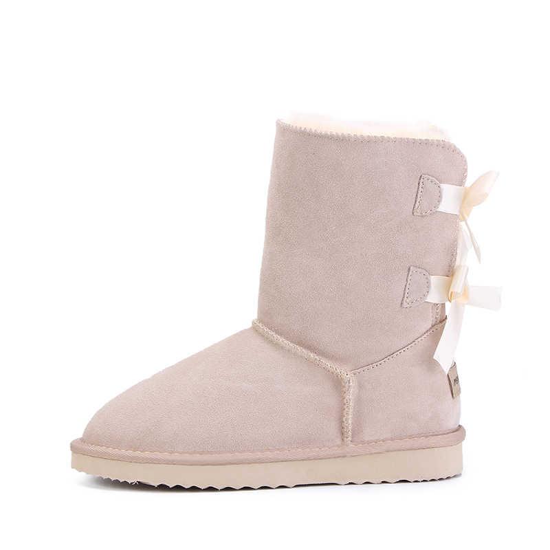 HABUCKN 2018 Thương Hiệu Chất lượng cao nữ mùa đông Ủng Da Thật chính hãng Da snowboots nữ botas dây cho giày zapatos