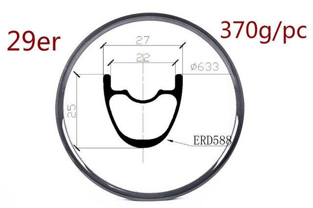 29er Vollcarbon Mtb Felgen 25mm Tiefe 27mm Externe Felgenbreite XC Interne  Breite 22mm MTB Fahrräder Rim