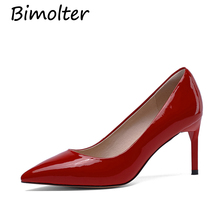 Bimolter Women High Heel Shoes Basic Model Pumps Lady Sexy Pointed Toe Wedding Pink Red Handmade Leather  NB02