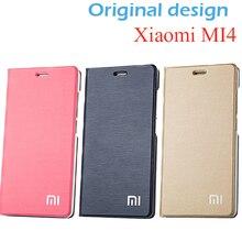 オリジナルサイズxiaomi Mi4ケースカバースタンド100% puレザーケース用xiaomi Mi4 m4カバー電話ケースフリップカバー用xiaomi Mi4 m4