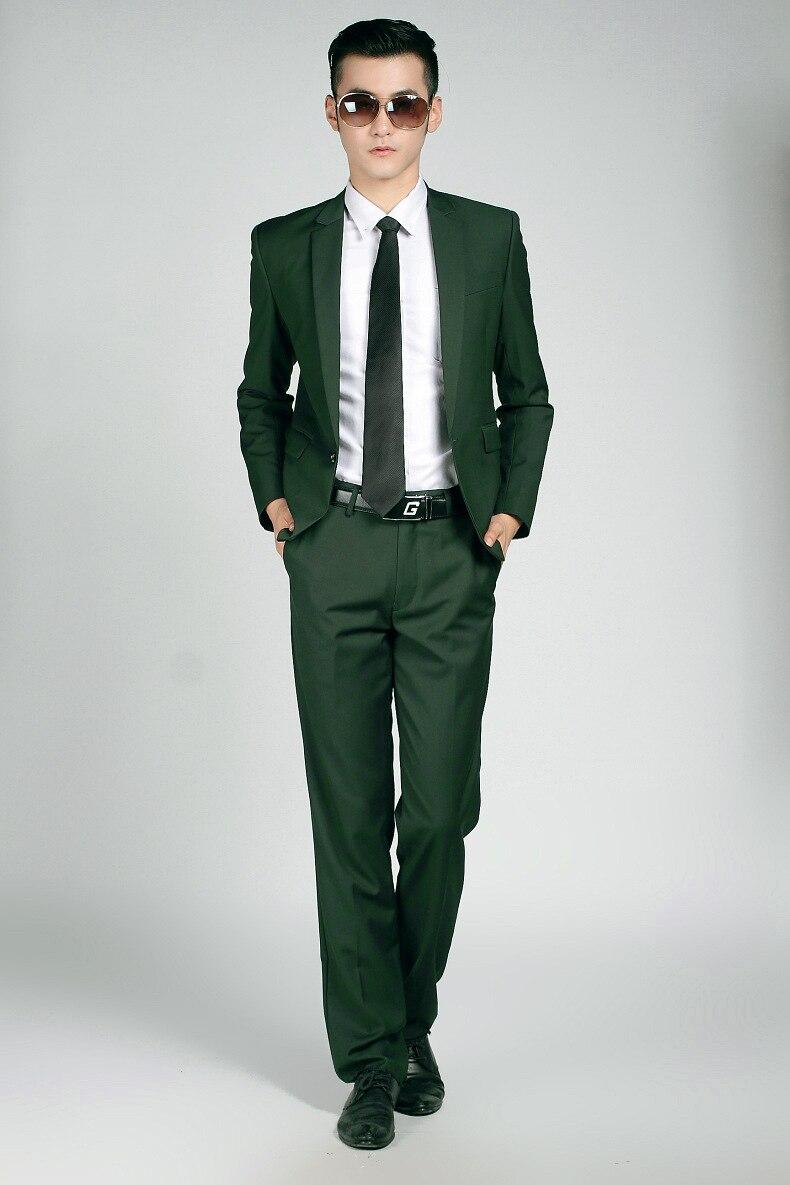Costume veste Marié Sergé Hommes Noivo Terno Bouton De Fumer Green Marque Slim Fit Casamento Pantalon Mariage Unique Mode Vert Costumes OrgqO80w