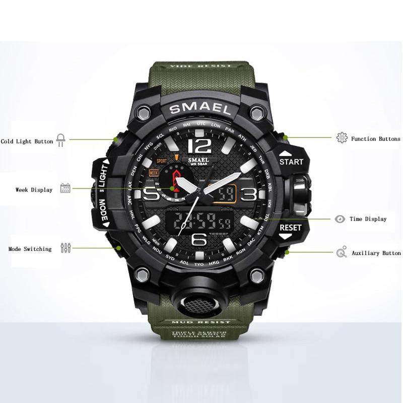 SMAEL Brand Dual Display käekellad Sõjaväehäire Quartz Kell Mees - Meeste käekellad - Foto 2
