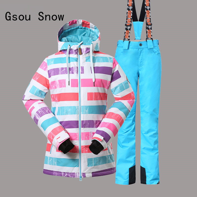 Gsou Snow Women Ski Suit Windproof Waterproof Outdoor Sport Wear Camping Riding Skiing Snowboard Super Warm Jacket+Pant Suit Set professional ski jacket women windproof waterproof winter warm outdoor sport snow wear snowboard jacket camping outdoor brand