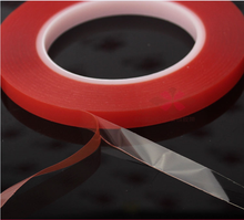 4mm 25M Strong Acrylic Adhesive PET Red Film Clear Double Side Tape No Trace For Phone