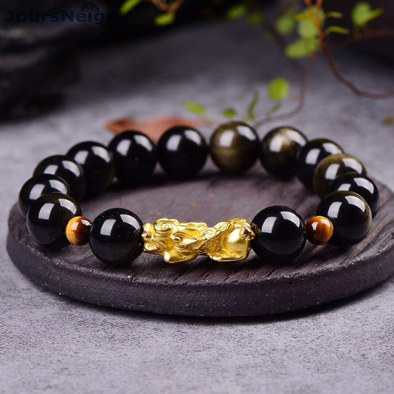 Wholesale JoursNeige Gold Black Natural Obsidian Stone Bracelets Round Beads with 3D Pixiu Bracelet Luck for Women Gift Jewelry