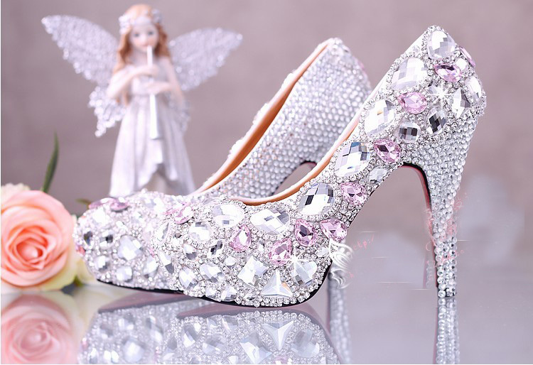 2016 Handmade Round Toe Pink Crystal 10cm High Heel Bridal Dress Shoes Rhinestone Wedding Shoes  Cow Split Women shoes  Size 39 стоимость