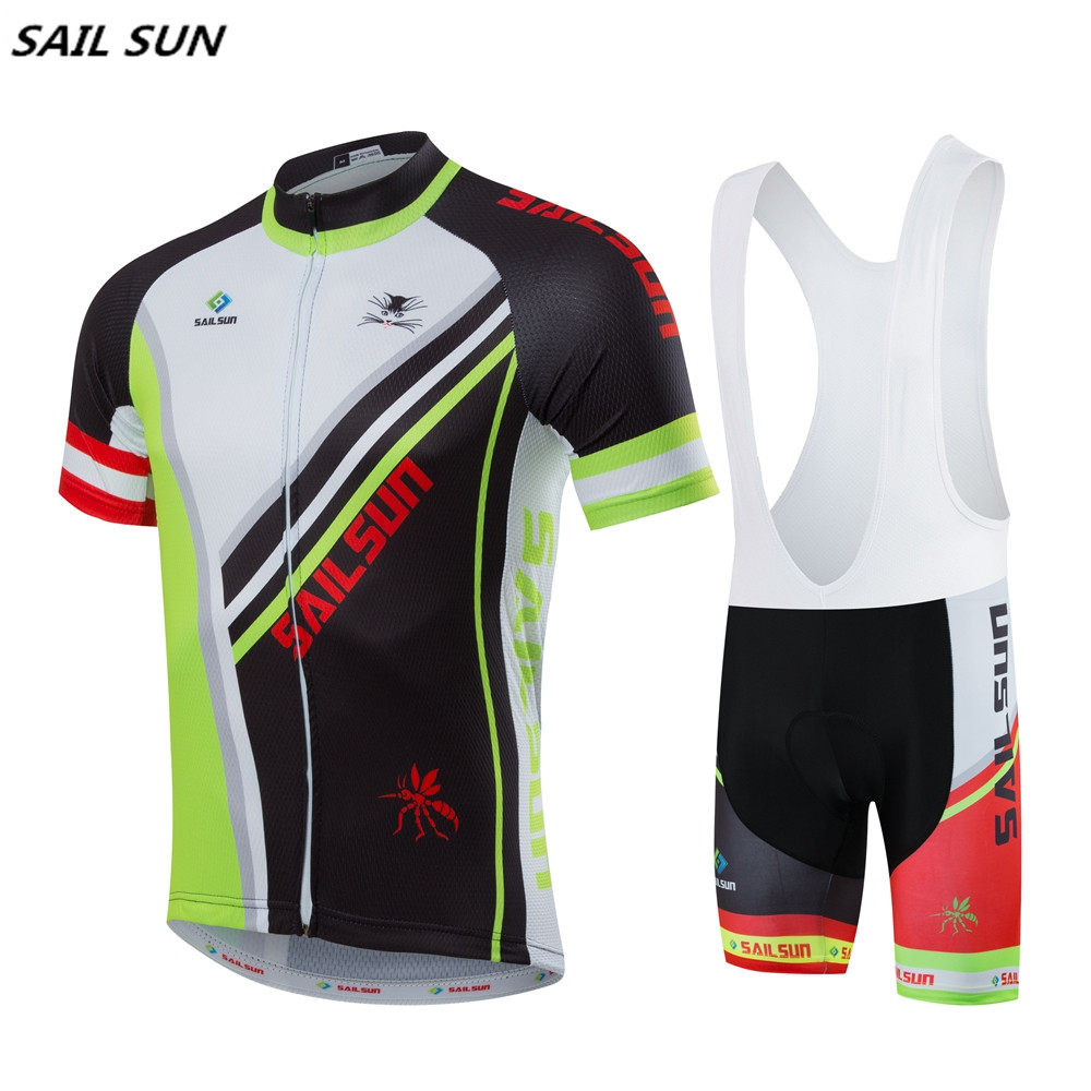 SAIL SUN Men Green Black Team Cycling Jersey or Bike bib Shorts Pro Bike Short Jersey Bicycle Clothing Top Summer шорты пляжные fallen board short rising sun black black